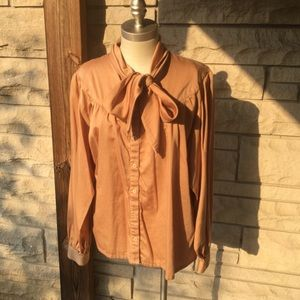 vintage tan givenchy bow blouse